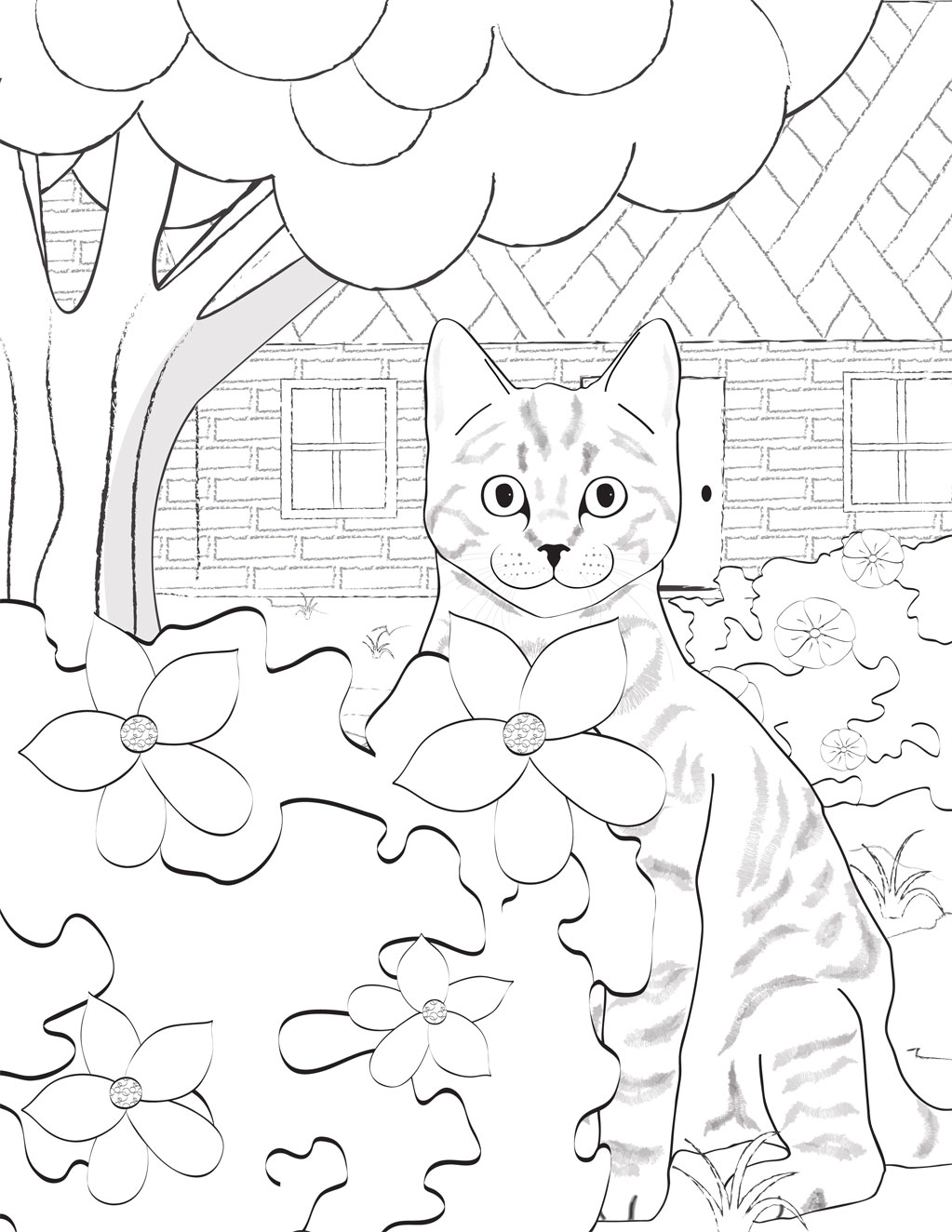 Bush Cat Coloring Page